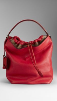 Textured leather hobo bag with Canvas check trim Leather shoulder strap 430ba3a74a4c5