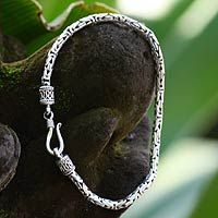 Men's sterling silver chain bracelet, 'Borobudur Collection I'