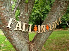 FALL IN LOVE Banner Wedding Photo Booth Word Letter Gift Party Country Bride Groom Love Purple Fall Leaves Leaf Engagement Vow Renewal