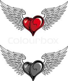 3405200 904910 medieval heart with wings for religion or tattoo design in color and desaturate version heart angel wings tattoo designs