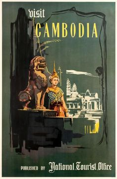 Visit Cambodia Angkor Wat National Tourist Office c.1960s - original vintage poster listed on AntikBar.co.uk