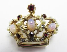 Vintage 1950s Gold Toned Faux Opal and Rhinestone by GildedTrifles