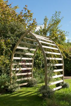 Buy Whitby extended arch - Elegant extra-deep planed timber arch: Delivery by Crocus Garden Structures, Outdoor Structures, Garden Archway, Garden Gate, Wood Path, Wooden Pergola, Curved Pergola, Diy Pergola, Pergola Kits