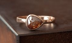 Natural Red Rose Cut Diamond Ring in 14kt Rose Gold.