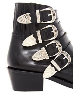 Toga Pulla Black Buckle Ankle Boots