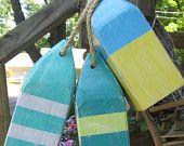 Set of 3 Wooden Buoys 10 inch reclaimed wood. Beach decor. Coastal Decor. made to order