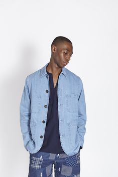 Universal Works Drops Print-Heavy Spring/Summer 2018 Collection: African-inspired patterns and Cornish-influenced colors. Universal Works, Designer Clothes For Men, Spring Summer 2018, Denim, Jackets, Collection, Style, Fashion, Mens Designer Clothing