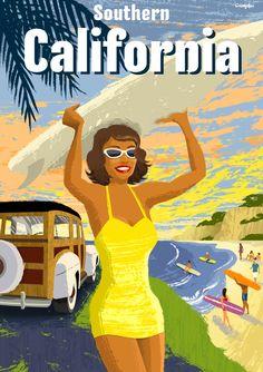 Southern California retro style travel poster.  Illustration by Michael Crampton.