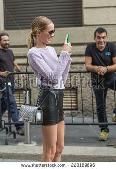 MILAN, ITALY - SEPTEMBER 17: Daria Strokous outside Gucci fashion show during Milan Women's Fashion Week on SEPTEMBER 17, 2014 in Milan. - stock photo