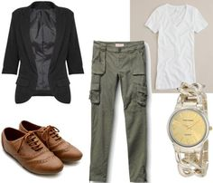 Jennifer Aniston-inspired casual outfit - Army green cargo pants, v-neck tee, oxfords, black blazer