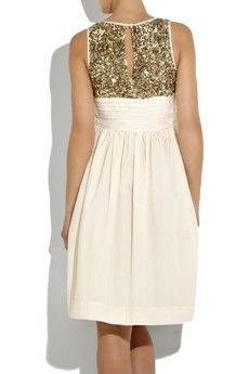 Gold Sequined Back Cream Short Dress
