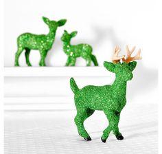 Green Deer Woodland table Decoration Glittered Centerpiece