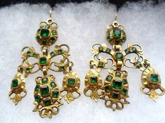 Antique Georgian Emerald Paste Girandole Earrings | eBay