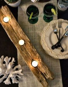 15 Coastal Beach Candles & Candle Holder Decor Ideas - Coastal Decor Ideas and Interior Design Inspiration Images Driftwood Centerpiece, Driftwood Table, Driftwood Art, Driftwood Ideas, Candle Holder Decor, Votive Candle Holders, Drawing Room Furniture, Deco Table Noel, Barn Wood Crafts