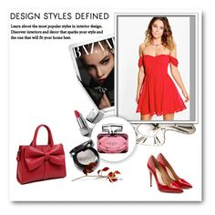 """RED DRESS"" by sabinanejla ❤ liked on Polyvore featuring Boohoo, Salvatore Ferragamo, Gucci and Burberry"