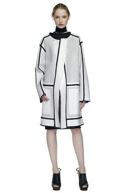 Proenza Schouler White perforated leather, crocheted stitch coat