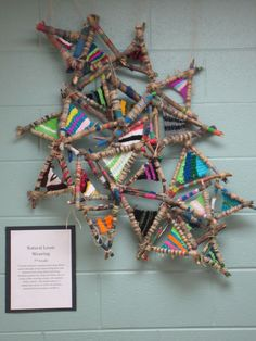 7th Grade Natural Loom Weaving Students constructed their own loom using 3 sticks which were painted with various patterns using acrylic paint and tied together to create a triangle shaped loom.  Warp threads were tied no more than a finger width apart.  Students were asked to create a color pattern in their weaving.  When finished students tied the looms together to create a collaborative piece.