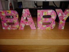 pink baby letters, decoupage