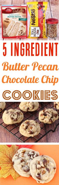 Butter Pecan Cookies Recipe! This Easy Cake Mix Cookie takes just 5 ingredients and is so soft, sweet and delicious! They'll disappear as fast as you can make them!