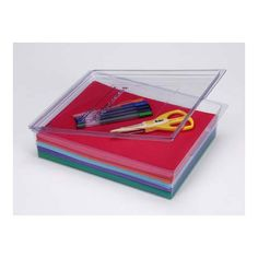 Perfect for craft organization, the Darice® Protect and Store box is a durable plastic PVC box with a snap-closure lid.  8.5 x 11 inches. $1.97 each, at the time of this pin