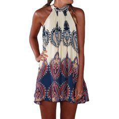 Haltered Sleeveless Boho Mini Dress