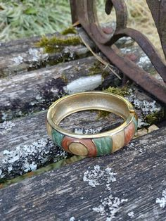 1980s Vintage Green Brown and Cream Enamel Bangle with Goldtone Lining