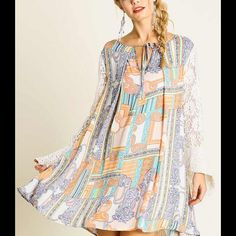 Arriving ~ Bohème Vibe Tunic Dress Simply a beauty ! Girly Gorgeous hues with lace detail sleeves. Size: S M L. Please DO NOT purchase this listing but comment on size & I'll create you a separate listing. Brand new no tags. Price FIRM UNLESS bundled.❌NO PP/NO TRADES❌ Cloud 9 Dresses