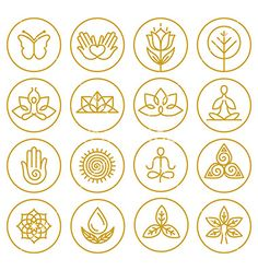 Yoga icons vector lotus nature logos - by venimo on VectorStock®