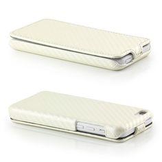 Carbon-Look Flip Case für Apple iPhone 5C Weiß