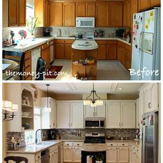 New paint, cabinet hardware, appliances, fixtures, lighting and a backsplash completely transform this kitchen without any major renovations to the space.