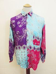 Vintage 90s Gen X-Y Fashion: LOUD Hip Hop Millionaire Urban Pattern Long Shirt L