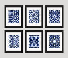 Navy Blue Wall Art moroccan art, geometric print, pattern wall art, navy prints