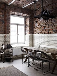 Interiors - Kristofer Johnsson - LINKdeco. Subway tile and brick