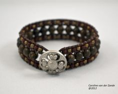 Leather and Bead Cuff Bracelet with Semi-precious Bronzite Stones (LB-245). $90.00, via Etsy.