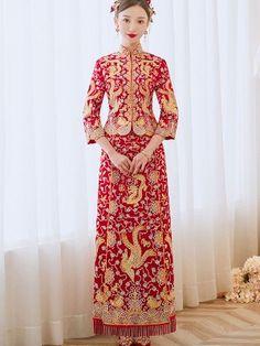 Embroidered Dragon Phoenix Chinese Traditional Wedding Qun Kwa - CozyLadyWear Phoenix Chinese, Traditional Chinese Wedding, Custom Made Clothing, Straight Skirt, Cheongsam, Mandarin Collar, Dragon, Casual, Dresses