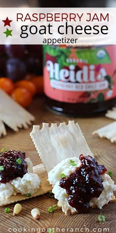 Whipped Goat Cheese Appetizer with Raspberry Red Chile Jam. Salty, creamy, sweet and spicy makes for an incredible flavor experience. Mini Appetizers, Quick And Easy Appetizers, Cheese Appetizers, Easy Appetizer Recipes, Dinner Recipes, Whipped Goat Cheese, Wine Tasting Party, Picnic Foods, Sweet And Spicy