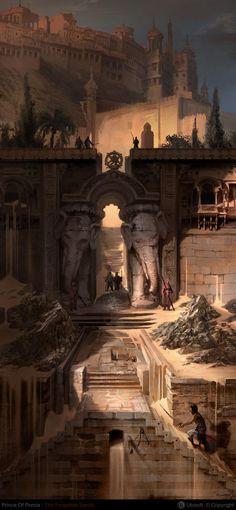 Elephantes Gate Fortress, Herve Groussin aka Nuro  on ArtStation at https://www.artstation.com/artwork/elephantes-gate-fortress