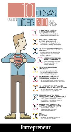 10 Cosas que un líder no debe hacer #infografía #infographic