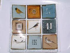 M Beneke Birds fused glass plate