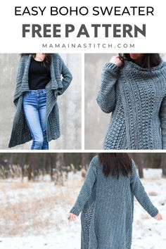 This gorgeous sweater is so easy to crochet! There are helpful pictures and a free pattern as well. I love it for the fall and winter. Pullover wickeln Easy Crochet Long Sweater Free Pattern clothes for women sweaters Cardigan Au Crochet, Crochet Coat, Crochet Shawl, Crochet Clothes, Crochet Sweaters, Crochet Winter, Mohair Sweater, Hooded Sweater, Chrochet