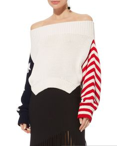 ShopStyle Collective Product Details Off shoulder sweater with stars and  stripes at either sleeve. Ribbed ba10d4028