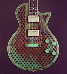 James Trussart Guitars Titanic Green Holey Gator SteelDeville.