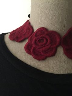 Red Roses Embroidered Necklace by violajanedesigns on Etsy