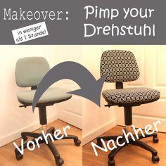 Pimp your Drehstuhl - ein alter Drehstuhl wird aufgehübst - jetzt mit Schritt für Schritt Anleitung auf dem Blog