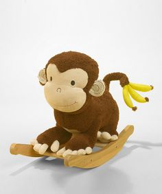 As if a big, lovable monkey friend wasn't enough fun, here's one to ride on. Buttons on the back of Mocha's head play original songs that cover the ABCs, 123s and more, making this rocker the perfect all-in-one playmate. Weight capacity: 80 lbs.Approx. 12'' W x 17'' H x 24'' DFabric / woodNo assembly required