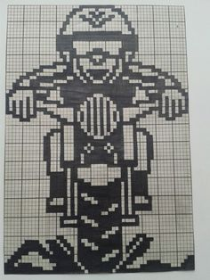 Dirt bike rider x-stitch Pixel Crochet, C2c Crochet, Tapestry Crochet, Crochet Stitches, Crochet Hooks, Filet Crochet Charts, Knitting Charts, Baby Knitting, Mini Cross Stitch