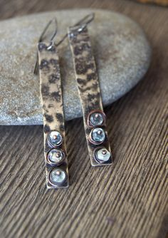industrial modern textured and oxidized silver by StudioLunaVerde, $45.00