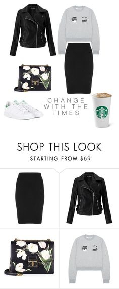 """white sneakers"" by vikt0ria ❤ liked on Polyvore featuring Manon Baptiste, Miss Selfridge, Dolce&Gabbana and adidas"