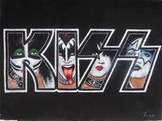 The KISS (band) Block on Yardsellr photo Kiss Band Logo,Gene Simmons,Paul Stanley,Eric & Tommy black velvet oil painting