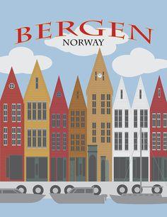 Bergen Norway Downtown Waterfront Poster Illustration by Jit Lim House Illustration, Travel Illustration, Illustration Artists, Oslo, Norway House, Norway Design, Poster Vintage, Bergen, School Design